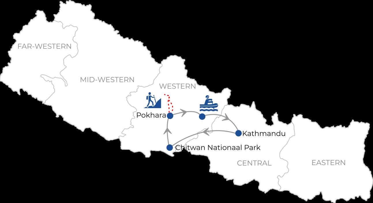 Routekaart reis Avontuurlijk, actief en natuurlijk Nepal