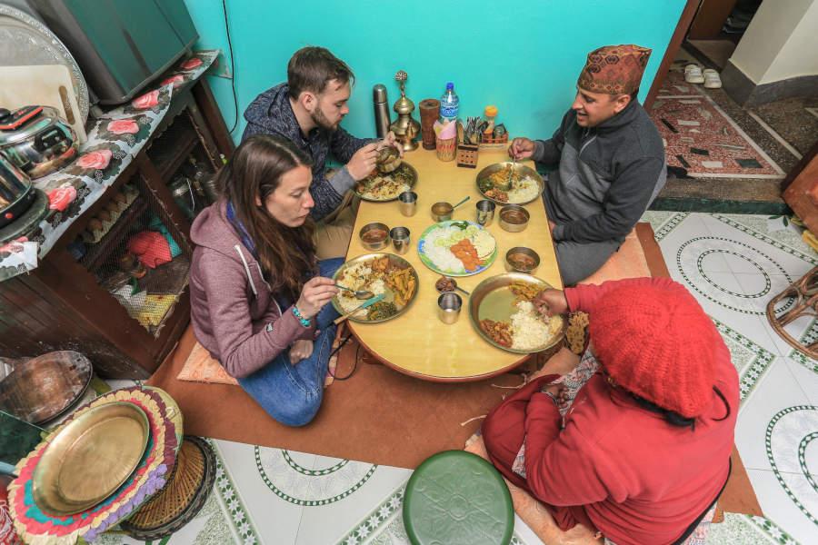 Eten bij locals in Tansen