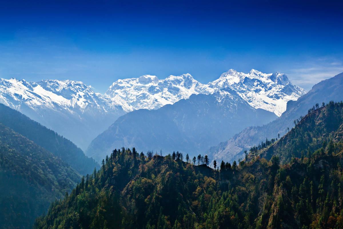 Uitzicht op Manaslu range in Nepal