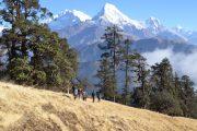 Uitzicht tijdens de trekking Mohare Hill Nepal