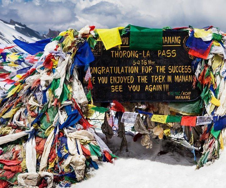 Nepal - Annapurna - Gebedsvlaggen pas Thorung La