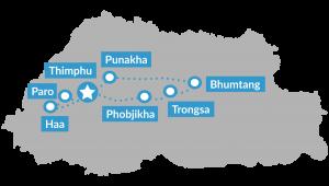 Reisroute groepsreis Bhutan