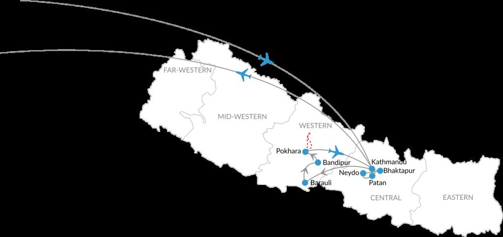 Reisroute jubileumreis travel Nepal